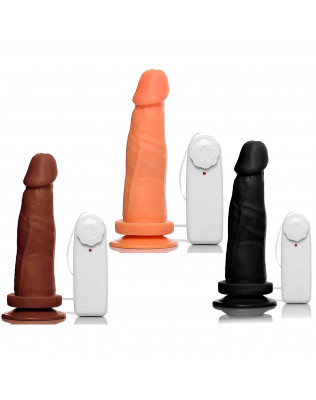 Pênis Realístico com Vibrador, Controle e Ventosa - 16cm
