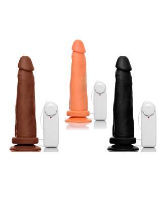 Pênis Realístico com Vibrador, Controle e Ventosa - 18cm
