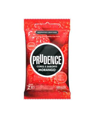 Preservativo Prudence - Cores e Sabores - Sabor Morango 3un